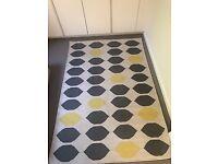 "Grey and yellow ""Trillo"" Habitat cotton rug 140x200cm"