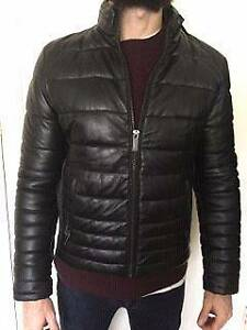 Black Faux Leather Winter Jacket - Men's Albert Park Port Phillip Preview