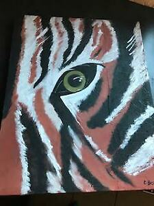 Toile Tigre (eye of the tiger) acrylique