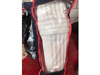 Grey Nicholls cricket pads as new and bat