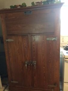 Antique Solid Oak Fridge