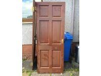 Doors 8 handwood 6 panel Mahogany,1 of them half glass 760x1980 £100 the lot