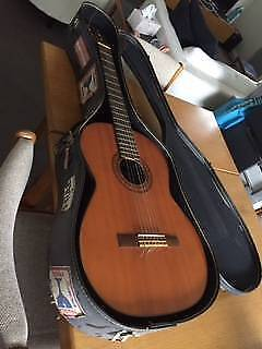 Acoustic guitar with old case