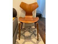 Arne Jacobsen Grand Prix mid century plywood chair with re-inforced spine