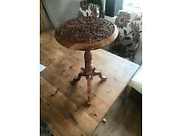 Small Pretty Occaisional Table, ethnic wooden, carved with leaf pattern, single legged