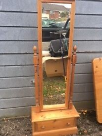 Tall antique pine mirror with drawer - £50