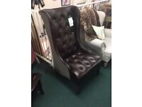Faux leather wing back chair