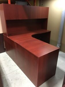 Office Desk - L-Shape Workstation in Cherry - 6' x 6'