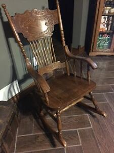 Oak Press Back Rocking Chair