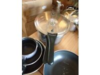 POTS AND PANS/VARIOUS SIZES NON STICK/CERAMIC/FRYING PANS/PRESIGE PRESSURE COOKER OLD BUT DOESTHEJOB