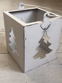 White Metal Lantern with Christmas Tree Cut-Out and Handle