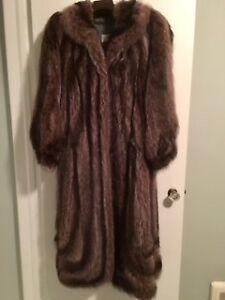 Silver Tipped Full Length Racoon Coat