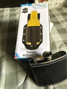 Travel Flask with leather cover and Beer Holster