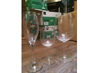 Wine and sparkling glasses- mostly new- each 0.50