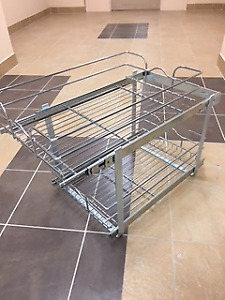 Metal Space Saver with 2 Pullout Shelves