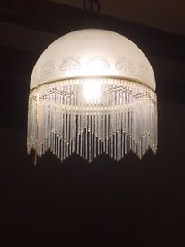 Pair of glass lamp shade with fringe