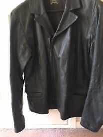 Men's. 1990's Levi dark blue leather jacket hardly worn .