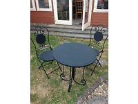 Cast Iron Patio Table and 2 Chairs