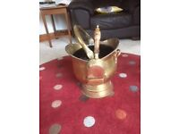 Solid Brass Coal Scuttle and matching Shovel