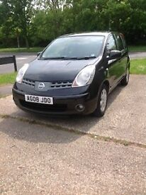 Nissan Note 1.5dCi black 2008. AC, AlloyWheels, DAB Radio, Electric Front and Rear windows, PAS, RCL