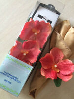 ORCHID NAPKIN RINGS AND SILK FLOWERS FOR TABLE - $5 (NEW)