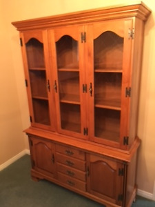 Solid Wood Roxton Maple Hutch and Buffet.