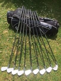 Set of Golf Irons and Trolley Bag