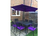 Garden Patio table, Six (6) chairs (with cushions) and Umbrella