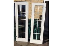 Double Doors - internal rebated white painted wooden double doors- pair - 605mm wide x 1970mm height