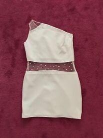 White bodycon dress.