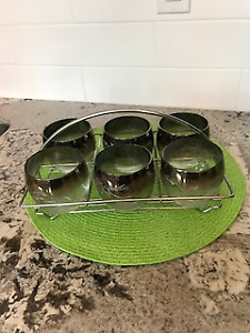 Mid-Century Glass Tumblers Set in Serving Tray