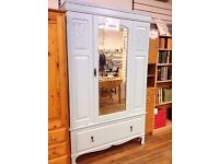 Vintage shabby chic solid wood wardrobe (light egg shell blue)