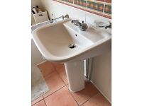 Villeroy & Boch bathroom basin, pedestal and mixer taps