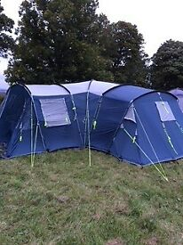 Fantastic family tent. Sleeps 8 max, huge central family area, built in groundsheet 2 bedrooms