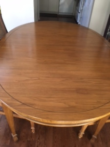 Walnut Dining Room Table and Hutch
