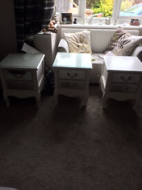 REDUCED - LAST ONE - NEW CREAM SMALL 2 DRAWER TABLES WITH MIRROR FRONTED DRAWERS
