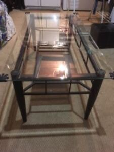 Glass coffee table with 2 matching end tables