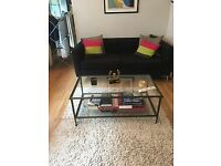 Crate & Barrel glass rectangular coffee table with metal frame