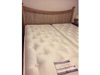 Super King Size Oak Bed and 2 x Oak Bedside Cabinets