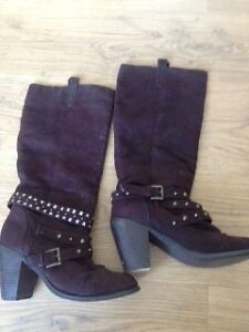 CLASSY SEUDE BROWN HIGH BOOTS GREAT DEAL FOR CHRISTMAS