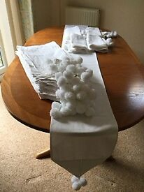 White cotton pique table runners - suitable for a celebratory event
