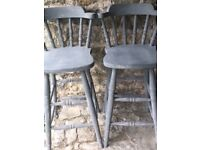 Pair of hand-painted grey kitchen stools