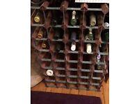 Traditional 45 bottle redwood wine rack