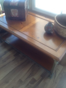 Pine/metal coffee and end tables