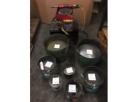 Vibrating bowl feeders for seperating components. Various sizes available. See photo.