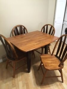 SOLID HARDWOOD DROP SIDE TABLE & 4 CHAIRS