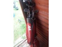Old golf clubs and bag