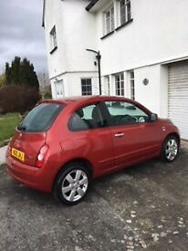 1 Litre, 3 door, Red Nissan Micra for sale. Excellent condition and very low mileage