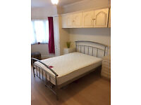 For Sale - VGC Double Bed Mattress and modern metal bed frame and matching head/tail board