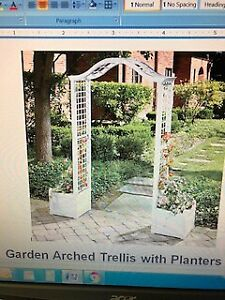 Garden Arched Trellis with Planters